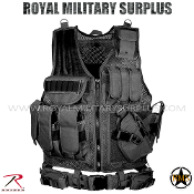 Army Military tactical vest cross draw - Black Camouflage