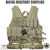 Military Army Tactical Vest Cross Draw Molle - MultiCam Camouflage Multi-environment Pattern