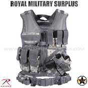 US Army Military Digital Tactical Vest Cross Draw - ACU Camouflage Universal Pattern