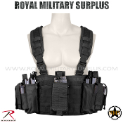 Army Military tactical vest chest rig - Black Camouflage