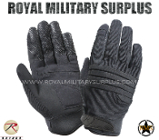 Army Military tactical gloves padded knuckles - Black Camouflage
