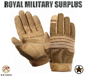 Army Military Tactical Gloves Padded Knuckles - Coyote Camouflage Desert Arid Pattern