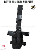 Army Military drop leg pistol holster - Black Camouflage