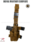 Army Military Drop Leg Pistol Holster - Coyote Camouflage Desert Arid Pattern
