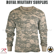 US Army Military Digital T-Shirt Long Sleeves - ACU Camouflage Universal Pattern