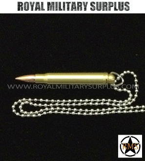 Army Military bullet cartridge pendant - steel chain