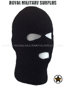 Balaclava / Hood (3-Holes Face Mask) - BLACK
