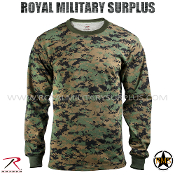 US Marines Digital Woodland T-Shirt Long Sleeves - MARPAT Camouflage Woodland Pattern