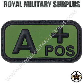 Patch - Blood Type (Rubber) - A+ POSITIVE (Green/Black)