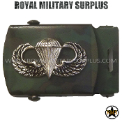 Belt Buckle Paratrooper Emblema Woodland Brushed Silver